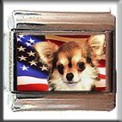 CHIHUAHUA LONG HAIR AND AM FLAG ITALIAN CHARM