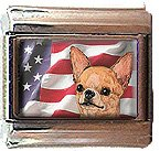 CHIHUAHUA AND AM FLAG ITALIAN CHARM