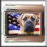 MASTIFF AND AM FLAG ITALIAN CHARM