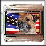 BORDER TERRIER AND AM FLAG ITALIAN CHARM