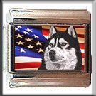 SIBERAN HUSKY AND AM FLAG ITALIAN CHARM