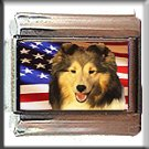 SHETLAND SHEEPDOG AND AM FLAG ITALIAN CHARM