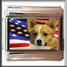 PEMBROKE WELSH CORGI AND AM FLAG ITALIAN CHARM