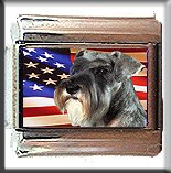 MINIATURE SCHNAUZER AND AM FLAG ITALIAN CHARM