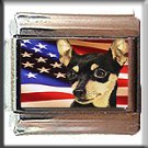 MINIATURE PINSCHER AND AM FLAG ITALIAN CHARM