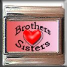 BROTHER SISTER HEART LOVE ITALIAN PHOTO CHARM