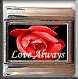 LOVE ALWAYS RED ROSE ITALIAN CHARM CHARMS