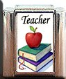 TEACHER BOOKS APPLE ITALIAN CHARM CHARMS