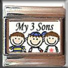 MY THREE 3 SON ITALIAN CHARM CHARMS