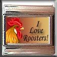 I LOVE ROOSTERS ITALIAN CHARM CHARMS