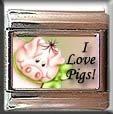I LOVE PIGS ITALIAN CHARM CHARMS