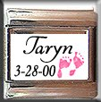PINK BABY GIRL CUSTOM NAME BIRTHDATE ITALIAN CHARM
