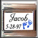BLUE BABY BOY CUSTOM NAME BIRTHDATE ITALIAN CHARM