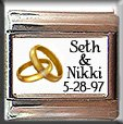 CUSTOM WEDDING NAMES DATE GOLD RINGS ITALIAN CHARM