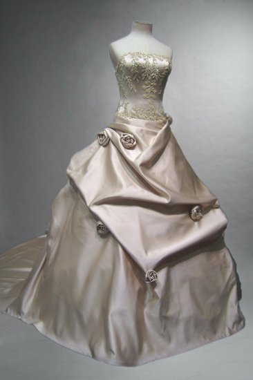 Sexy princess gown Satin pick-up ball gown with Rose on, top bodice evening dress custom make