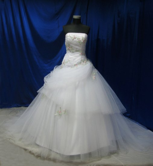 sexy strapless lace emboridered wedding gown evening dress