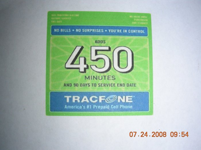 450 min Tracfone pin code with bonus codes