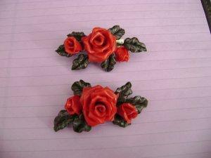Red Roses Hair Barrettes ~unique~