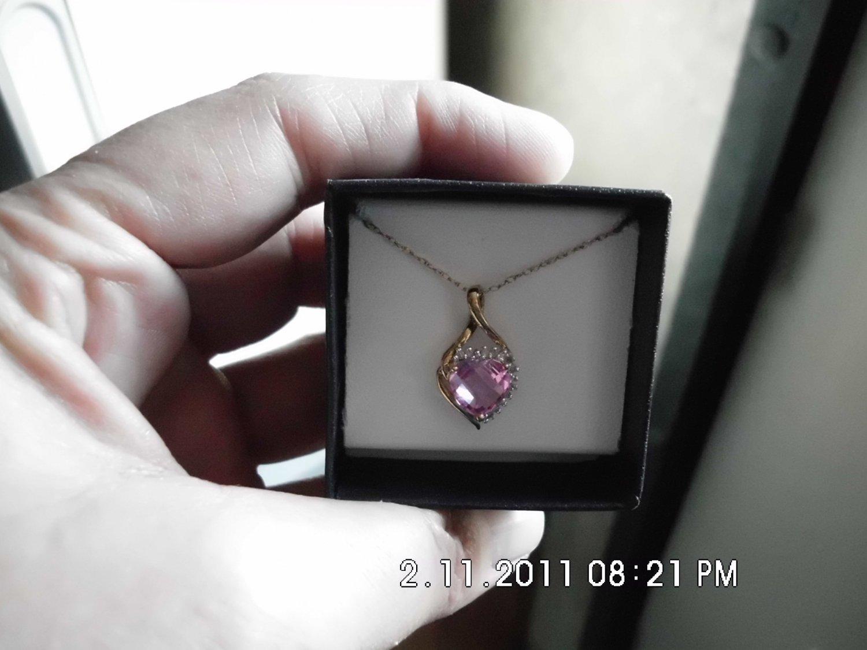 Beautiful Pink Sapphire Diamonds Pendant NEW