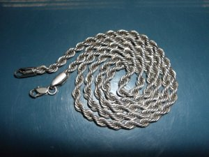 .925 Italian Solid Sterling Silver Mens Rope Chain