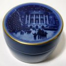 Vintage Bing & Grondahl Fine Porcelain TRINKET BOX - WHITE HOUSE at Christmas