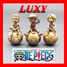 One Piece Rare Bronze Colored Characters Set of 3 Luffy Zolo Sanji Luxy Collectibles
