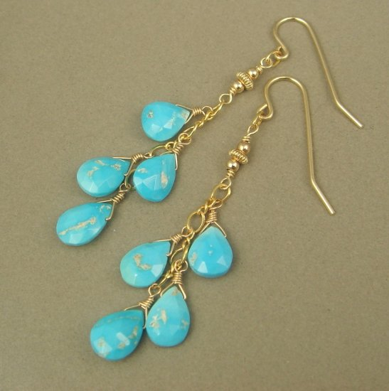 Natural Sleeping Beauty Turquoise 14K Gold Filled Earrings
