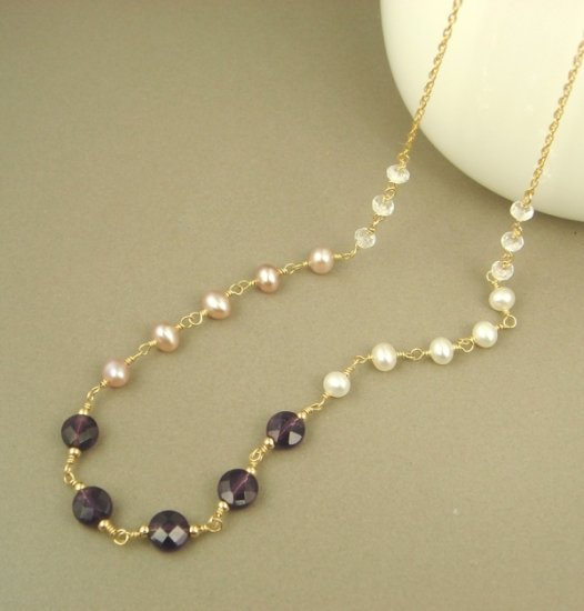 Amethyst Pink & White Pearl White Topaz 14K Gold Filled Necklace