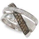 Arco Baleno 1/3 ctw Cognac Diamond Designer Ring size7
