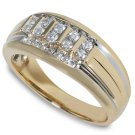 1/2 ctw Channel Set Two Tone Diamond Ring 14-k size 6