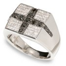 3/4 ctw Black and White Diamond Men's Ring 14-k  size10