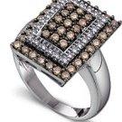 Arco Baleno 1 1/4ctw Cognac Diamond Designer Ring  14-k size 5