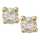 1/5 ctw Yellow Gold Round Diamond Studs
