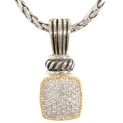 Effy Sterling Silver and 18k YG Diamond Necklace