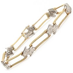 1 1/2ctw Yellow Gold Princess Cut Open Wave Tennis Bracelet  14-k