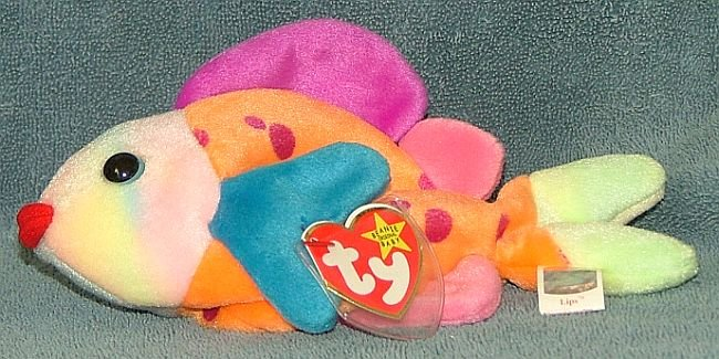 Ty beanie baby lips the fish 1999 retired free shipping for Fish beanie baby