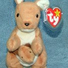 TY Beanie Baby Pouch the Kangaroo 1996 Retired Free Shipping
