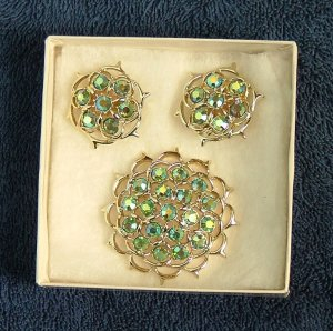 Vintage Sarah Coventry Lime-Light Brooch & Earring Set
