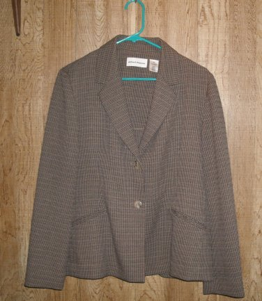 Alfred Dunner brown/navy blue checkered blazer coat suit jacket Sz.12