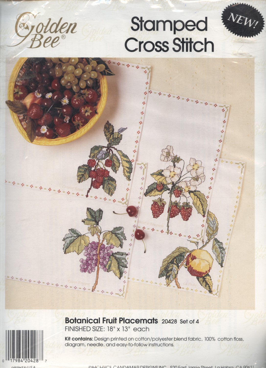 Golden Bee Stamped Cross Stitch Botanical Fruit Placemets Kit set of 4 NEW