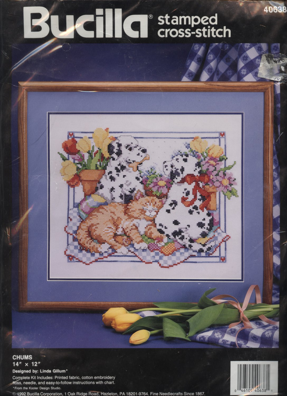 Bucilla Stamped Cross Stitch Cat and Dog Kit NEW