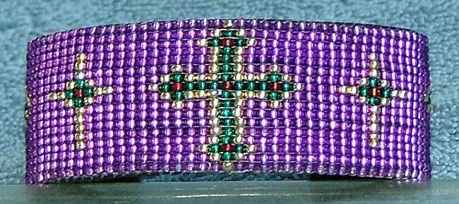 Hand Crafted Purple Beaded Cross Cuff Bracelet