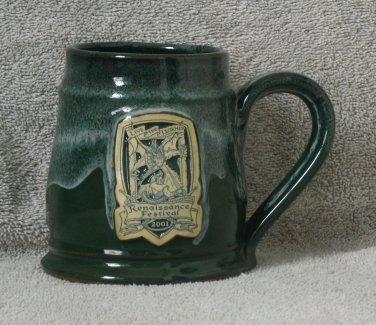 Forest Green Minnesota Renaissance Pottery Mug 2001 Live the Legend Dragon Knight