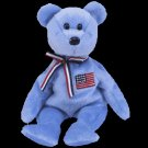 America (Blue) the bear,  Beanie Baby - Retired