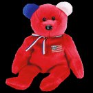 America (Red) the bear,  Beanie Baby - Retired