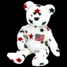 Glory the American flag bear,  Beanie Baby - Retired