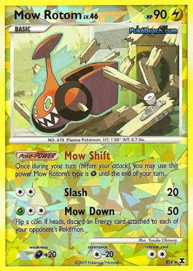Secret Rare Holo Mow Rotom Rising Rivals RT4