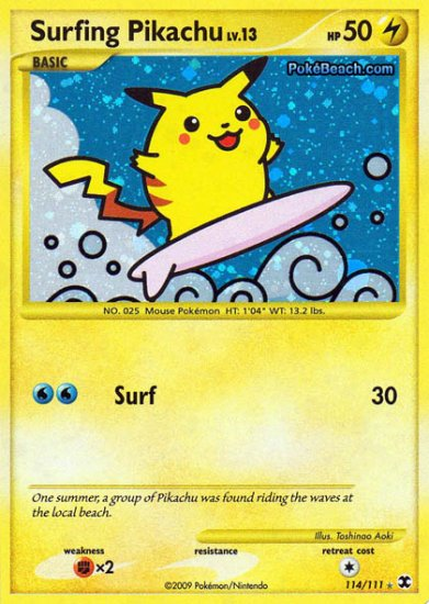 Secret Rare Holo Surfing Pikachu Rising Rivals 114/111