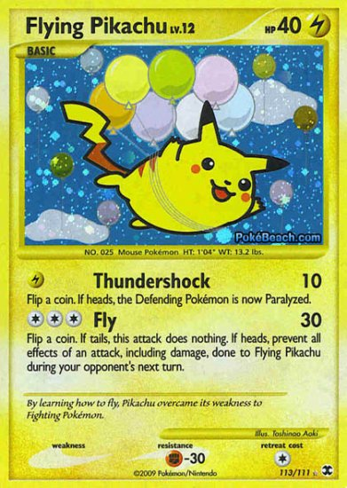 Secret Rare Holo Flying Pikachu Rising Rivals 113/111