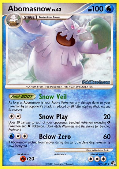 Reverse Holo Abomasnow Pokemon Stormfront 12/100